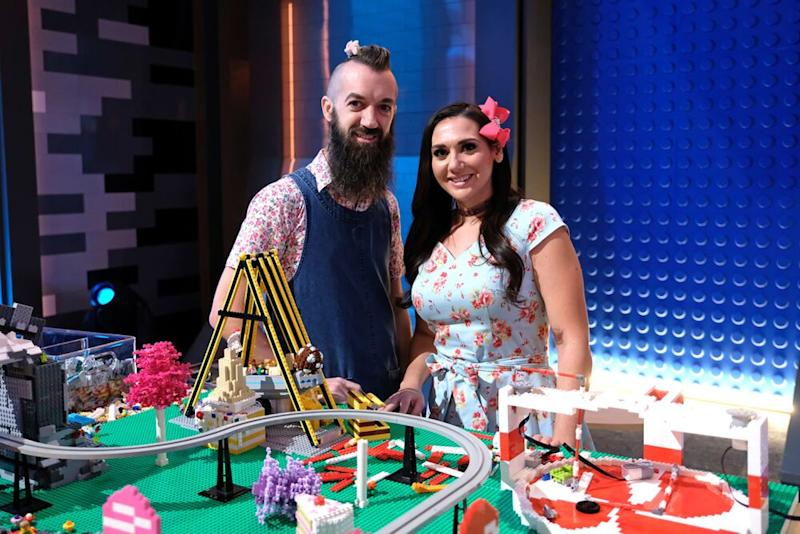 Sam and Jessica with their design.   Ray Mickshaw/FOX