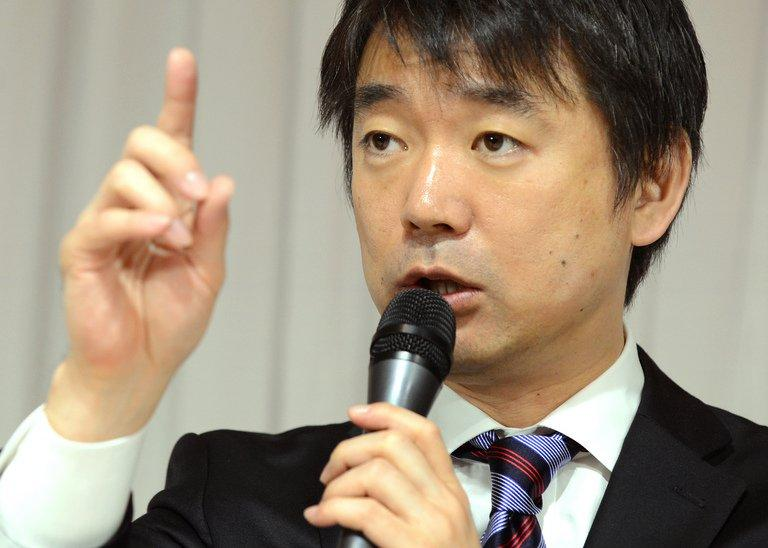 "Osaka Mayor, Toru Hashimoto, pictured during a press conference in Tokyo, on November 29, 2012. Hashimoto recently said that the so-called ""comfort women"" of WWII served a ""necessary"" role by keeping troops in check"