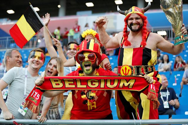 <p>Belgium fans inside the stadium before the match REUTERS/Toru Hanai </p>