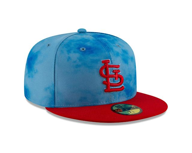 Father's Day uniforms will follow a similar pattern to the Mother's Day uniforms. New Era designed a new cap with light blue crowns to accent team colors on the brim and logo.