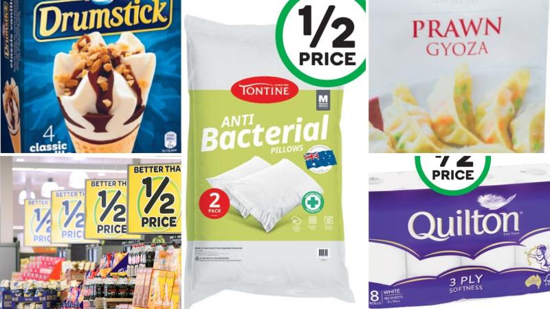 Ice cream, pillows, gyoza and toilet paper selling for half-price at Woolworths and Coles this week.