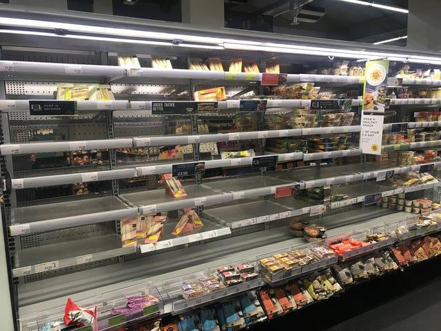 Depleted shelves in a Marks and Spencer store in Belfast
