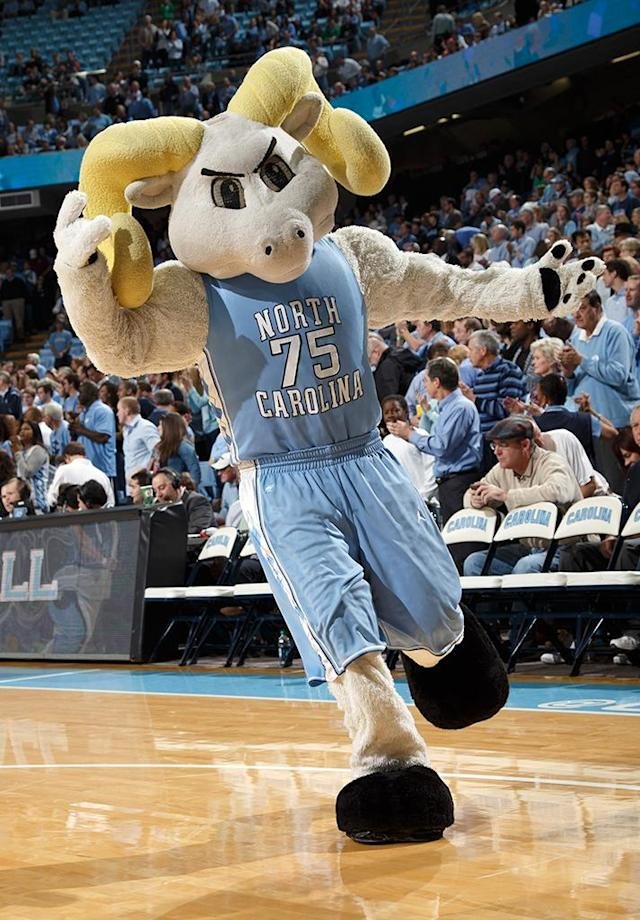 Ramses, mascot of the North Carolina Tar Heels, cheers fans during a game against the Virginia Tech Hokies on February 02, 2013 at the Dean E. Smith Center in Chapel Hill, North Carolina. North Carolina won 72-60 in overtime. (Photo by Peyton Williams/UNC/Getty Images)