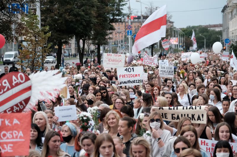 Women march through Belarusian capital calling for Lukashenko to step down