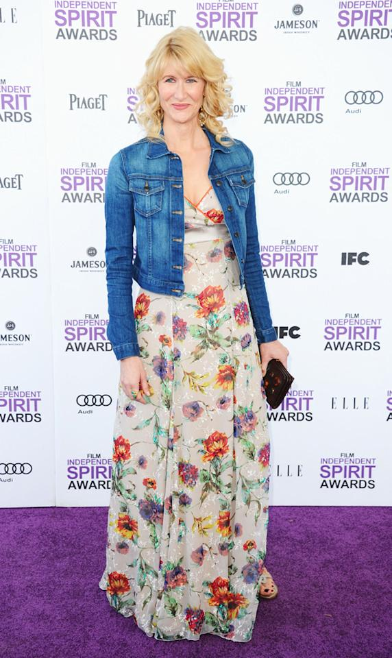 Floral was everywhere, and Laura Dern kept the trend alive in this colorful maxi dress. A vintage denim jacket made for the perfect Indie Spirit Awards accessory.