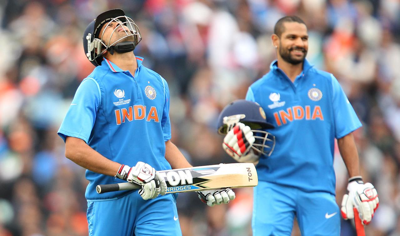 India's Rohit Sharma reacts after being given out by the video umpire during the ICC Champions Trophy match at the Kia Oval, London.
