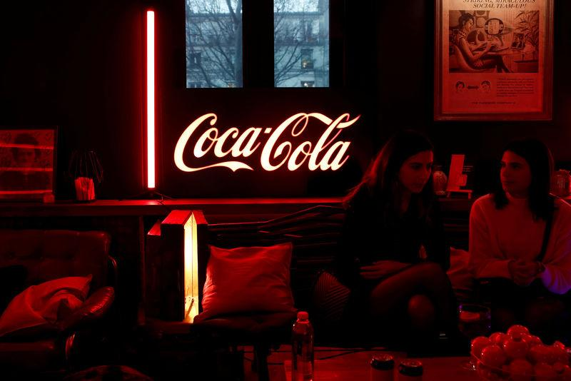 FILE PHOTO: A Coca-Cola logo is pictured during an event in Paris