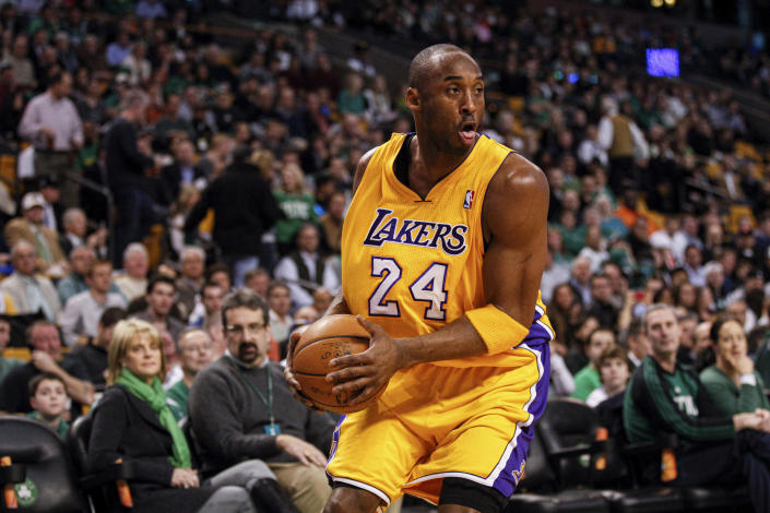 Feb 09, 2012; Boston, MA, USA; Los Angeles Lakers shooting guard Kobe Bryant (24) on the court against the Boston Celtics at the TD Garden. Mandatory Credit: David Butler II-USA TODAY Sports