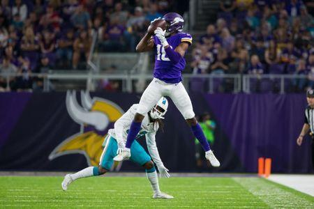 Aug 31, 2017; Minneapolis, MN, USA; Minnesota Vikings wide receiver Cayleb Jones (16) makes a catch in the third quarter against the Miami Dolphins at U.S. Bank Stadium. Mandatory Credit: Brad Rempel-USA TODAY Sports