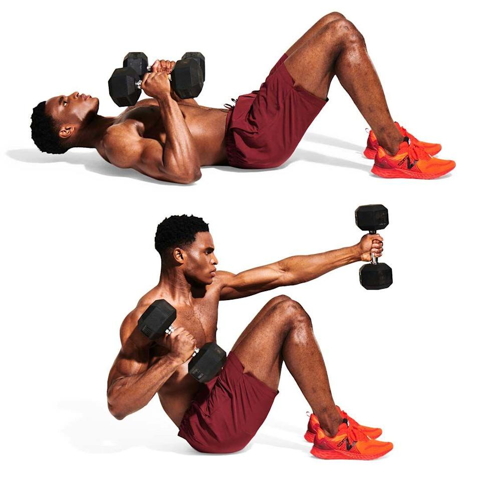 <p>Finish strong. Grab two dumbbells and set up in the classic sit-up position (<strong>A</strong>). Contract your abs, and at the top of the move, punch each arm across your body (<strong>B</strong>). Rest after 10 reps, then tackle the circuit again, all the way from the top.</p>