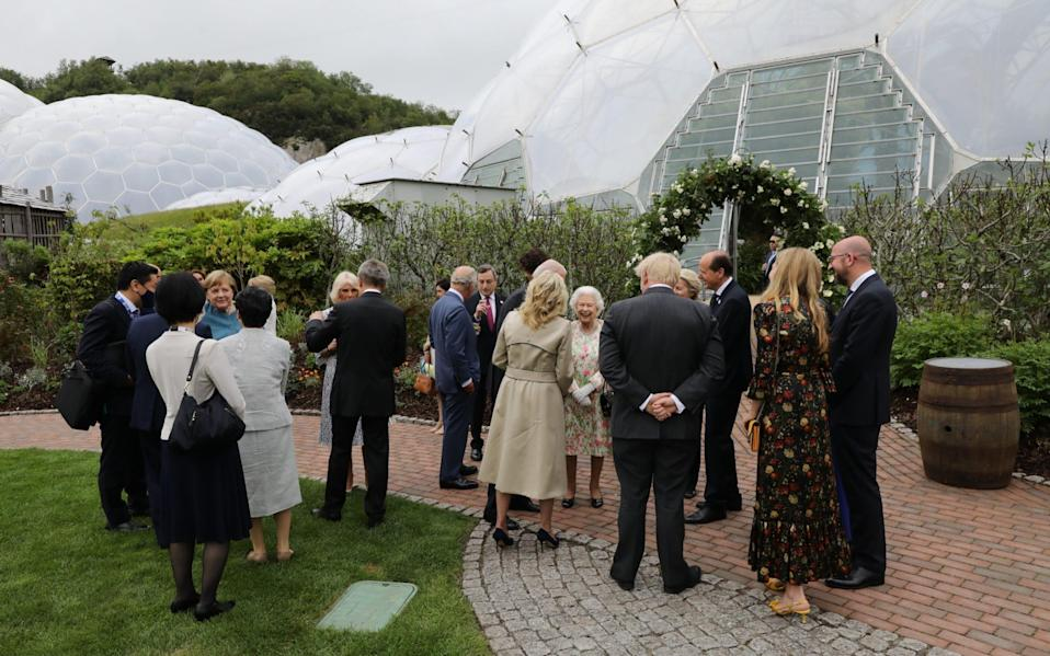 G7 leaders gather for a reception held by the Queen in Cornwall on June 11 2021 - Jack Hill/The Times
