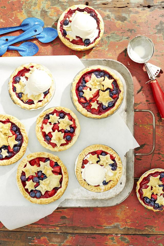 "<p>These cute-as-a-butt0n pies have inspired a new summer motto: Red, white, and scoop of ice cream. </p><p><strong><a rel=""nofollow"" href=""https://www.countryliving.com/food-drinks/a21348015/mini-stars-berry-pies-recipe/"">Get the recipe.</a></strong></p><p><strong>Tools you'll need:</strong> star cookie cutters ($4, <a rel=""nofollow"" href=""https://www.amazon.com/Wilton-Set-Nesting-Star-Cutters/dp/B0000CFODR/?tag=countryliving_auto-append-20&ascsubtag=[artid