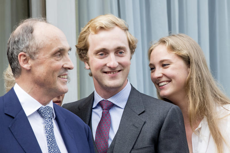 """WATERLOO, BELGIUM - JUNE 29: Prince Lorenz with two of his children Prince Joachim and Princess Luise Maria of Belgium attend the 80th birthday celebrations of Belgian Queen Paola on June 29, 2017 in Waterloo, Belgium. The celebration is organized by the Queen Paola Foundation, music band Queen Elisabeth and Missing Children Europe with as theme music and frienship. (Photo by Patrick van Katwijk/Getty Images)""""n""""n"""