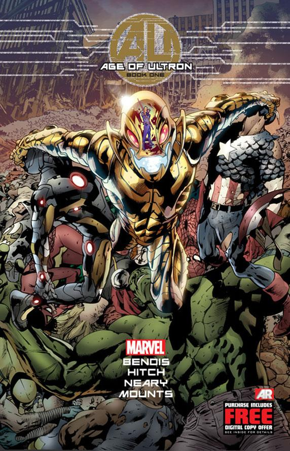 "This comic book cover image released by Marvel shows ""Age of Ultron,"" Book One. After years of well-placed warnings that have gone unheeded, the ever-adaptive artificial intelligence that is Ultron has come out on top, turning the planet into a dystopian landscape that is wrecked beyond compare with technology at the top of the food chain. (AP Photo/Marvel)"