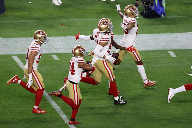 MIAMI, FLORIDA - FEBRUARY 02: Fred Warner #54 of the San Francisco 49ers reacts after intercepting a pass from Patrick Mahomes #15 of the Kansas City Chiefs (not pictured) during the third quarter in Super Bowl LIV at Hard Rock Stadium on February 02, 2020 in Miami, Florida. (Photo by Elsa/Getty Images)