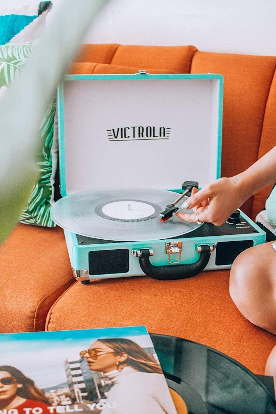 <p>This <span>Victrola Vintage 3-Speed Bluetooth Suitcase Turntable With Speakers</span> ($60) comes in dozens of different colors.</p>