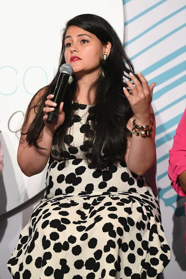 """Nadia Boujarwah speaks on the """"Dear Retailer"""" panel during theCURVYcon. (Photo: Getty Images)"""