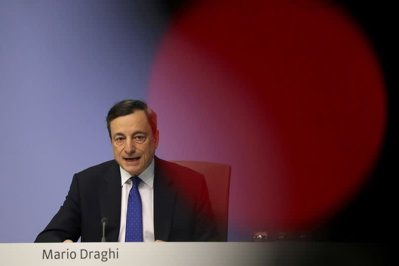 ECB President Draghi addresses a news conference after the bank's governing council meeting in Frankfurt