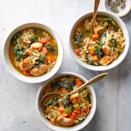 """<p>This healthy, easy soup is loaded with vegetables, protein and fiber to keep you full and fueled. Serve this winter soup topped with a sprinkle of Parmesan cheese, and a side of garlic toast. <a href=""""http://www.eatingwell.com/recipe/276346/lemon-chicken-orzo-soup-with-kale/"""" rel=""""nofollow noopener"""" target=""""_blank"""" data-ylk=""""slk:View recipe"""" class=""""link rapid-noclick-resp""""> View recipe </a></p>"""