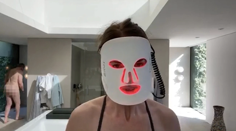 Trinny Woodall's partner Charles Saatchi accidentally walked into her livestream naked. Photo: Facebook/Trinny Woodall.