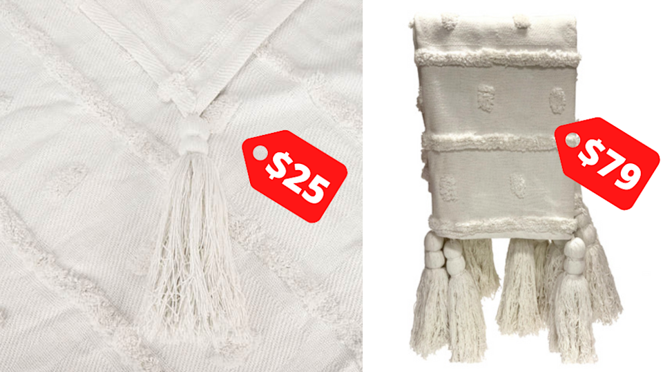 Kmart throw (left) and (right) $79 throw from Temple and Webster
