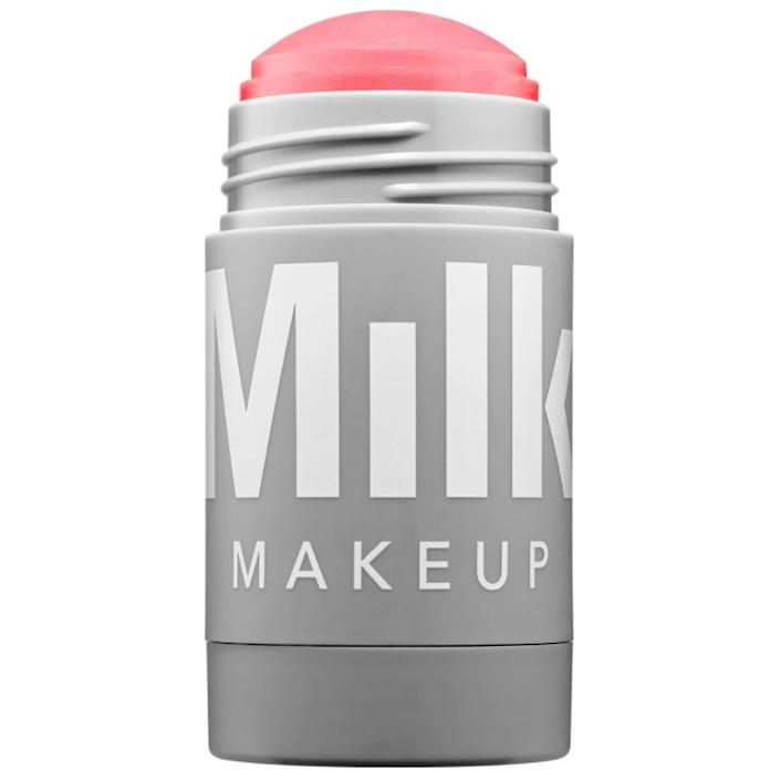 "Milk Makeup offers a gorgeous cheek and lip stick that makes makeup application quick and simple. And it's especially great for traveling.<strong><br><a href=""https://www.sephora.com/product/lip-cheek-P404799"" rel=""nofollow noopener"" target=""_blank"" data-ylk=""slk:Milk Makeup&nbsp;lip + cheek stick"" class=""link rapid-noclick-resp""><br>Milk Makeup&nbsp;lip + cheek stick</a>, $24</strong>"