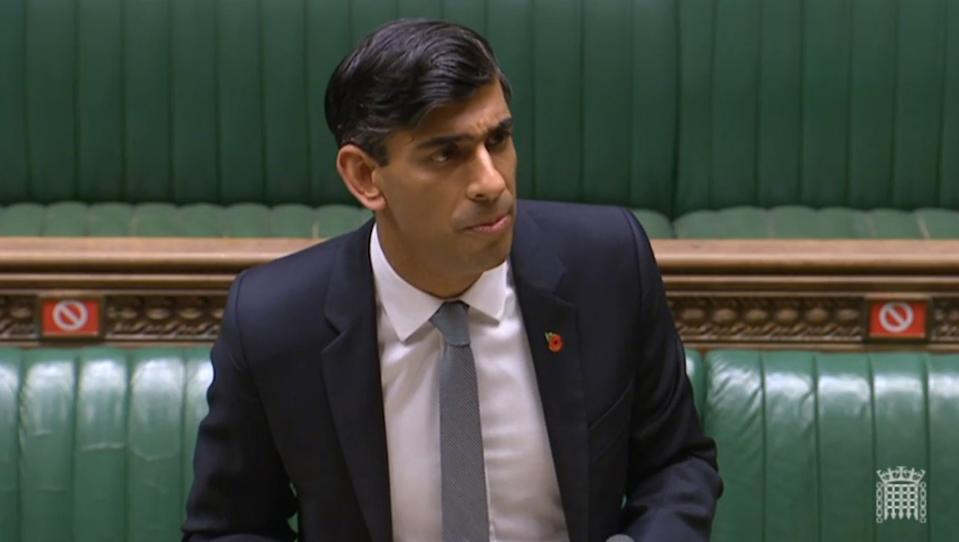 Chancellor of the Exchequer Rishi Sunak giving a statement to MPs in the House of Commons on economic measures for the second national lockdown in England. (Photo by House of Commons/PA Images via Getty Images)