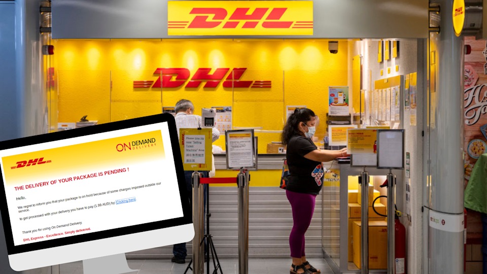 MailGuard has intercepted a message that looks like it's from DHL asking recipients to pay up to receive a package. (Source: Getty, MailGuard)