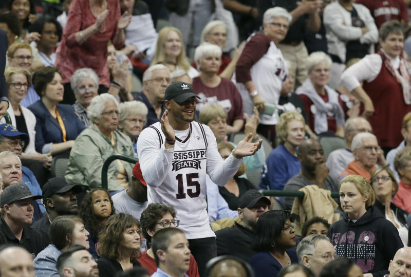 Dak Prescott enjoyed some offseason time attending the women's FInal Four. (AP)