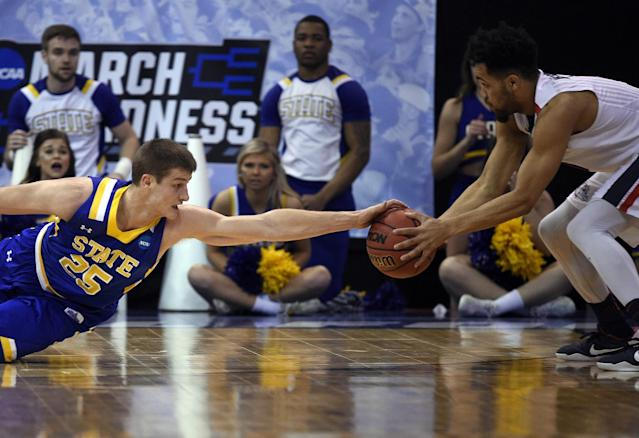 <p>Gonzaga Bulldogs guard Silas Melson (0) controls the ball as South Dakota State Jackrabbits guard Lane Severyn (25) tries to steal during the first half in the first round of the NCAA tournament at Vivint Smart Home Arena. Mandatory Credit: Kelvin Kuo-USA TODAY Sports </p>