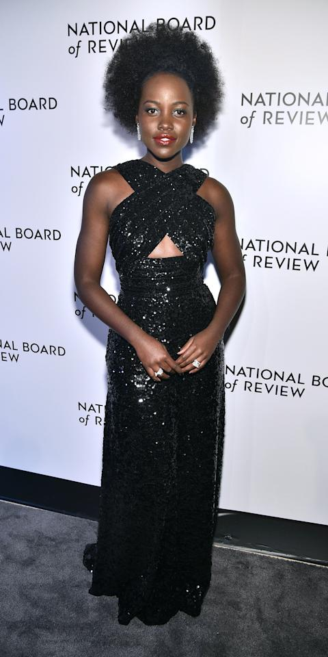 <p>At the National Board of Review Gala, Lupita Nyong'o dazzled in a sequin-embellished Celine gown and Cartier diamonds.</p>