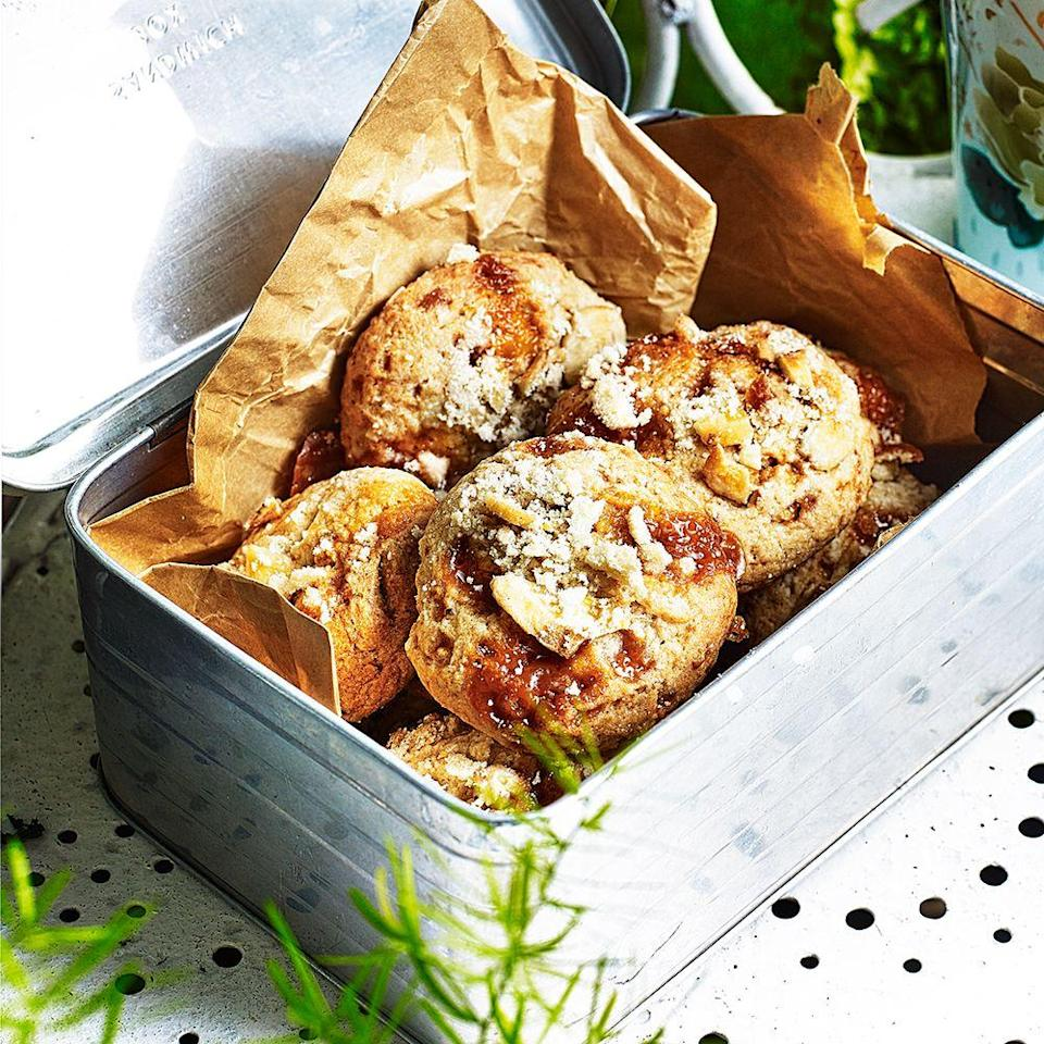 """<p>With a moreish soft and crumbly texture, these banoffee cookies are best eaten on the day they're made. Use the ripest bananas you can find for flavour.</p><p><strong>Recipe: <a href=""""https://www.goodhousekeeping.com/uk/food/recipes/banoffee-cookies"""" rel=""""nofollow noopener"""" target=""""_blank"""" data-ylk=""""slk:Banoffee pie cookies"""" class=""""link rapid-noclick-resp"""">Banoffee pie cookies</a> </strong> </p>"""