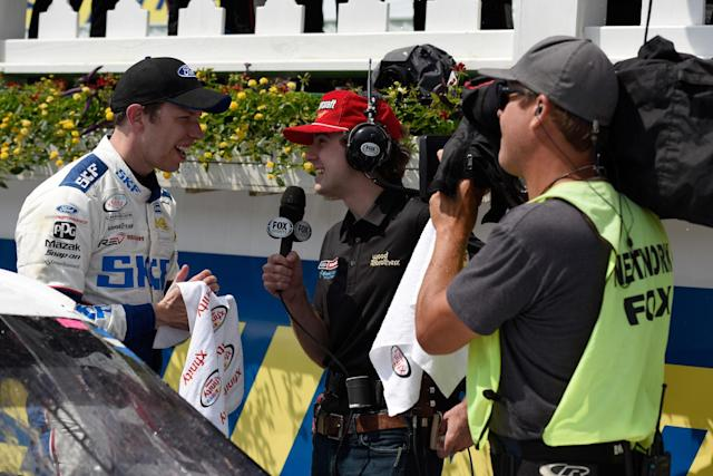 "<a class=""link rapid-noclick-resp"" href=""/nascar/nationwide/drivers/3085"" data-ylk=""slk:Ryan Blaney"">Ryan Blaney</a> interviewed <a class=""link rapid-noclick-resp"" href=""/nascar/sprint/drivers/1124/"" data-ylk=""slk:Brad Keselowski"">Brad Keselowski</a> during last year's drivers only race. They'll both be on the broadcast team in 2018. (Getty)"