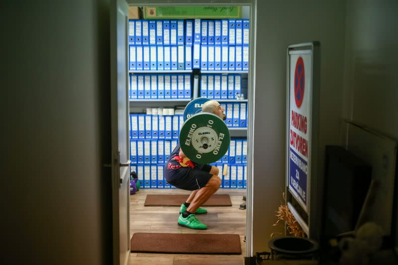 Croatia rower Martin Sinkovic is seen during practice in improvised gym in hotel Alkar for the Tokyo 2020 Olympics in Sinj