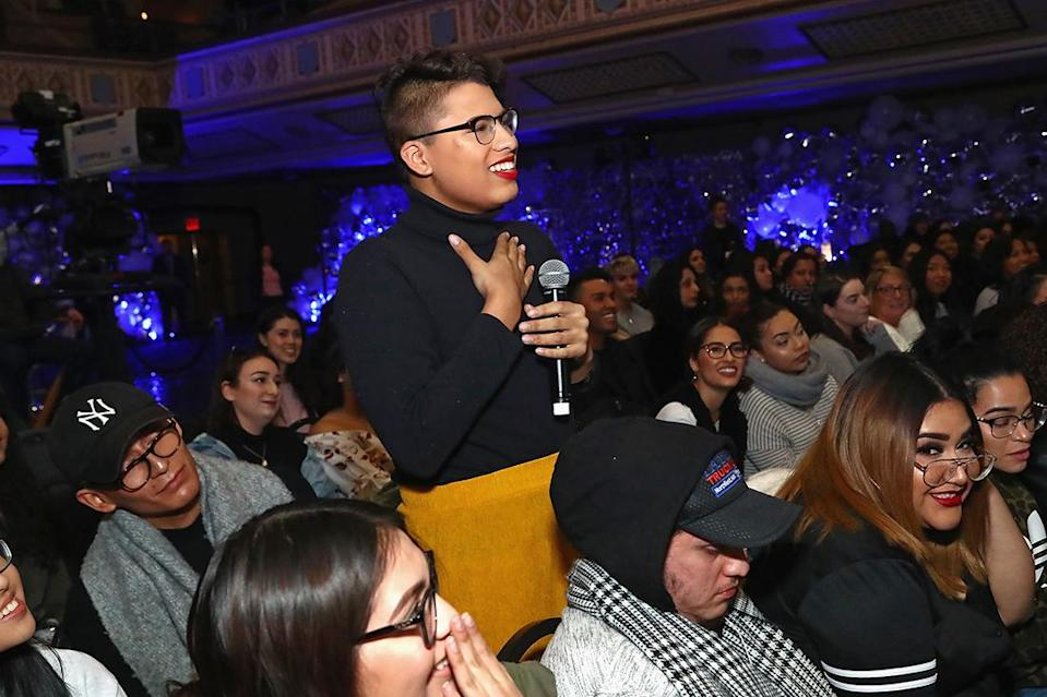 Patrick Starrr fan asks question during The Damn Show with MAC in New York City. (Photo by Astrid Stawiarz/Getty Images for MAC Cosmetics)