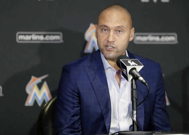 Marlins owner Derek Jeter talks to reporters during a news conference on Oct. 4. (AP)