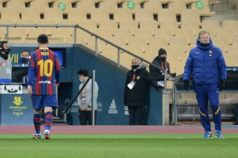 Lionel Messi heads down the tunnel after his red card against Athletic Bilbao