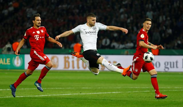 Soccer Football - DFB Cup Final - Bayern Munich vs Eintracht Frankfurt - Olympiastadion, Berlin, Germany - May 19, 2018 Eintracht Frankfurt's Ante Rebic scores their second goal REUTERS/Kai Pfaffenbach DFB RULES PROHIBIT USE IN MMS SERVICES VIA HANDHELD DEVICES UNTIL TWO HOURS AFTER A MATCH AND ANY USAGE ON INTERNET OR ONLINE MEDIA SIMULATING VIDEO FOOTAGE DURING THE MATCH. TPX IMAGES OF THE DAY