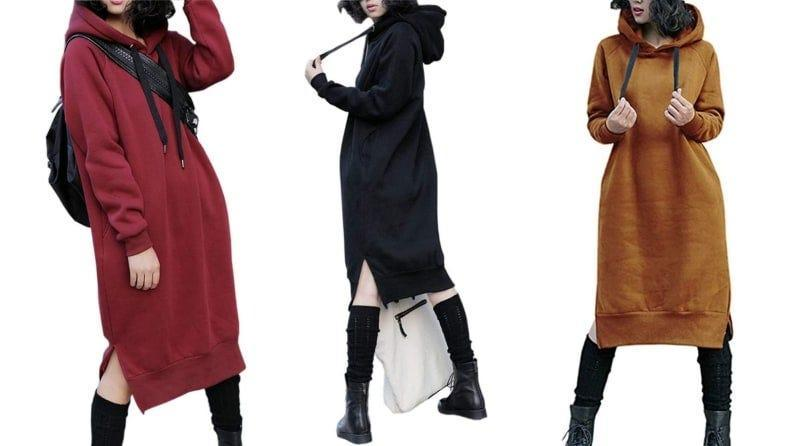 A hooded sweatshirt dress is a total game-changer in the fall.
