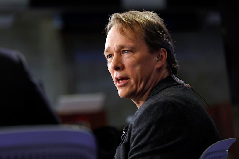 Canopy founder, Chairman & co-CEO Bruce Linton is interviewed on the floor of the New York Stock Exchange, Thursday, March 7, 2019. (AP Photo/Richard Drew)