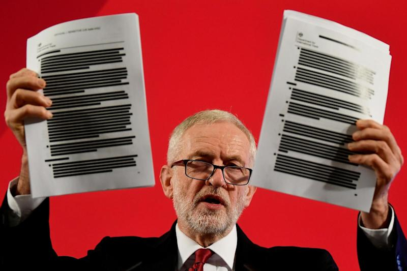Jeremy Corbyn held documents on trade talks between US and UK officials as he made a speech about the NHS last week (REUTERS)