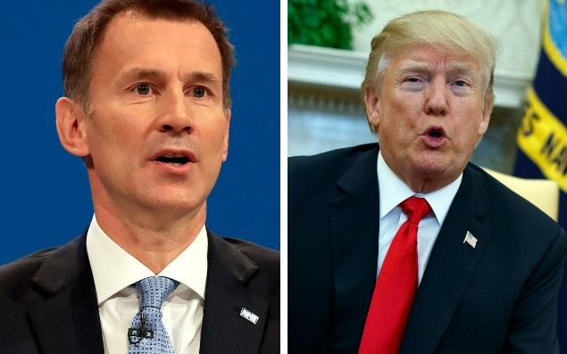 Jeremy Hunt hit back after Donald Trump criticised the NHS - AP Photo/Evan Vucci/Peter Byrne/PA Wire