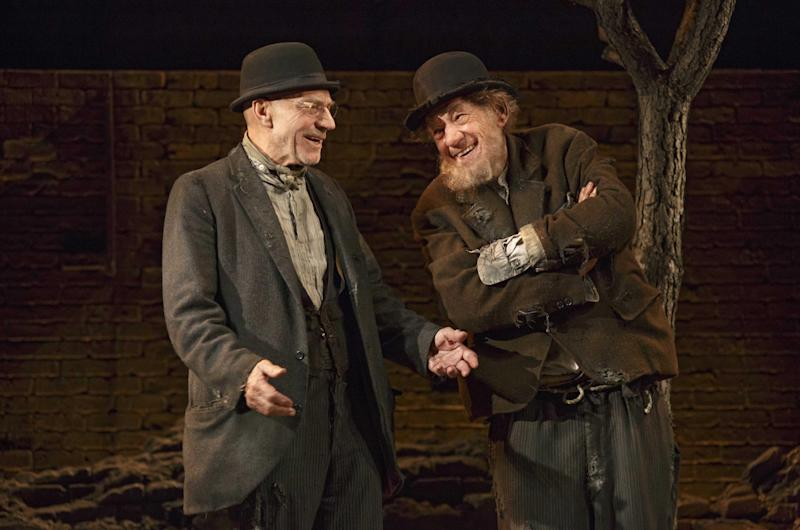 """This photo provided by Boneau/Bryan-Brown shows Patrick Stewart, left, and Ian McKellen in Samuel Beckett's play """"Waiting for Godot,"""" directed by Sean Mathias at Broadway's Cort Theatre in New York. (AP Photo/Boneau/Bryan-Brown, Copyright Joan Marcus)"""