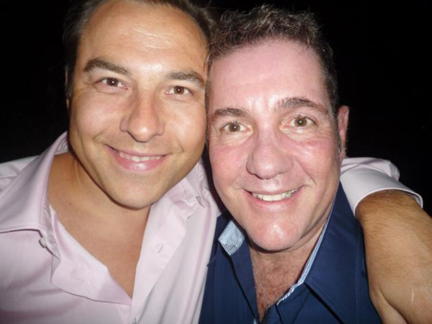 "Celebrity photos: David Walliams posed with Dale Winton for this cute Twitter snap. David accompanied the picture with the caption: ""Campest man in the world competition declared a dead heat."""