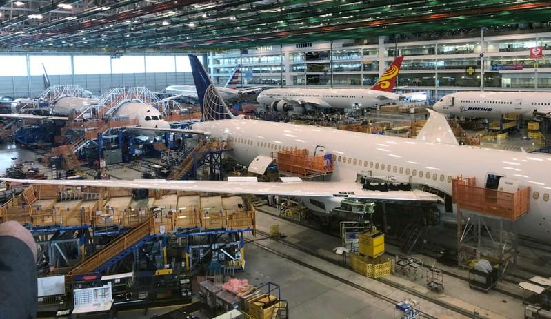 FILE PHOTO: Boeing 787 Dreamliners in final production in North Charleston