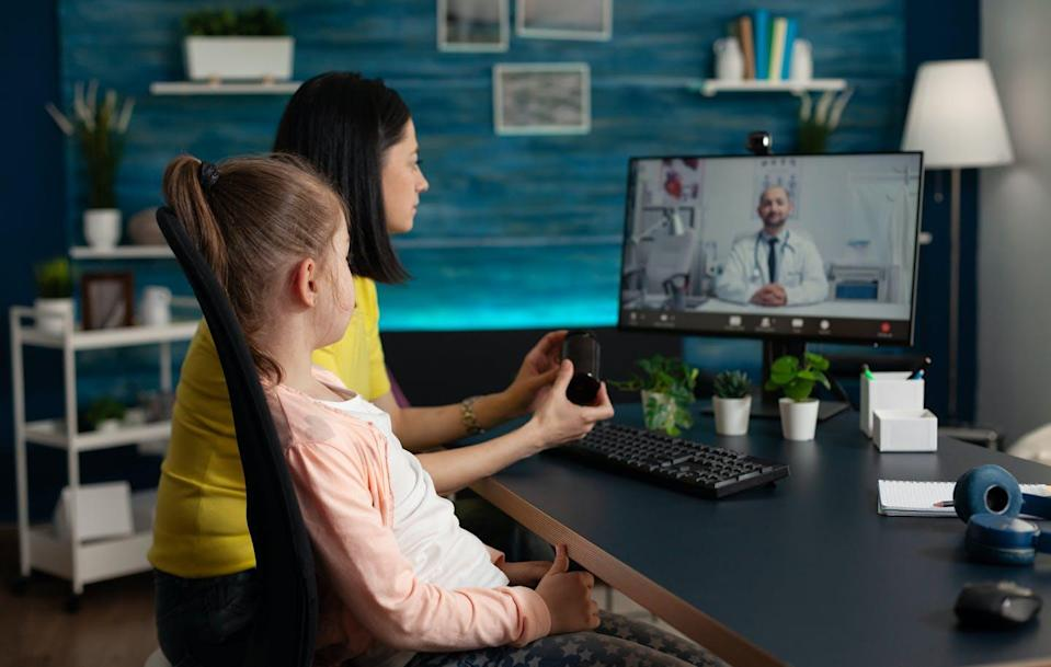 """<span class=""""caption"""">Examining a child on a screen is nothing like examining a child in person.</span> <span class=""""attribution""""><span class=""""source"""">(Shutterstock)</span></span>"""