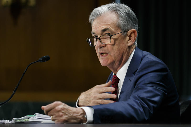 Federal Reserve Chair Jerome Powell presents the monetary policy report to the Senate Banking Committee, July 11, 2019, on Capitol Hill in Washington. (AP Photo/Jacquelyn Martin)