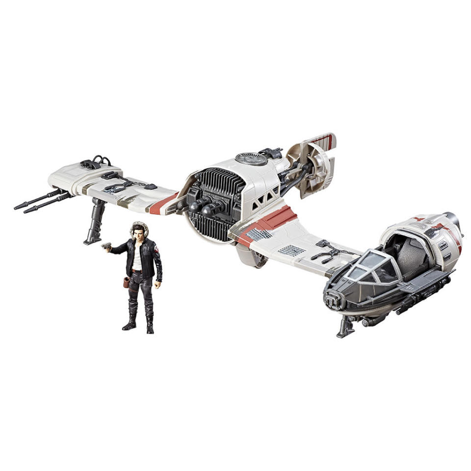 """<p>""""His high-speed Resistance Ski Speeder gives him the upper hand when he needs to outrun and outmaneuver the First Order. Imagine soaring through the galaxy as the Resistance's leading pilot, Poe Dameron! Inspired by <em>Star Wars: The Last Jedi</em>, this 3.75-inch scale vehicle features blast-off wings with firing projectiles as part of its detailed and intricate design with a motion-tilt mechanism. $39.99 (Photo: Hasbro) </p>"""