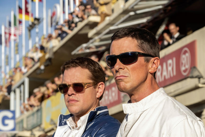 "This image released by 20th Century Fox shows Christian Bale, right, and Matt Damon in a scene from the film, ""Ford v. Ferrari."" (Merrick Morton/20th Century Fox via AP)"
