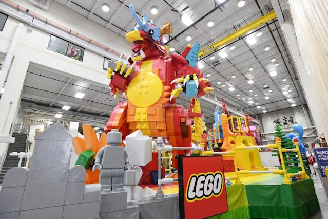 A peek at the Lego float being prepped on Nov. 19 in Moonachie, N.J., for the 93rd annual Macy's Thanksgiving Day Parade. (Photo: Eugene Gologursky/Getty Images For Macy's Inc)